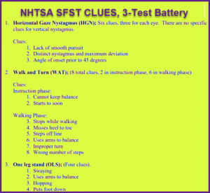 DUI Field Sobriety Test Clues